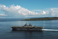 USS Essex passes Capul Island while passing through the San Bernardino Strait