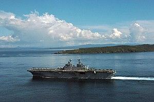 Capul - USS Essex passes Capul Island while passing through the San Bernardino Strait