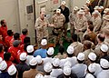 US Navy 070306-N-0448N-001 Commander Combined Task Group 158.1, Capt. Jeffrey Harbeson addresses Sailors and Ocean 6 staff members before turning over command to Royal Navy Commodore Nick Lambert.jpg
