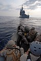 US Navy 070624-N-0841E-111 Members assigned to the visit, board, search and seizure (VBSS) team on board guided-missile cruiser USS Vicksburg (CG 69) take part in a boarding scenario training exercise.jpg