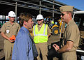 US Navy 080107-N-9830B-003 Jacksonville Mayor John Peyton thanks Naval Air Station Commanding Officer Capt. John Scorby for offering him the opportunity to come on board the base to tour several constructions projects going on.jpg