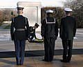 US Navy 080108-N-9769P-002 Chief Machinist's Mate Phillip Wharton and Machinist's Mate 1st Class Jeffrey Harp, along with a Tomb guard lay a wreath at the Tomb of the Unknown Soldier on behalf of Commander, Navy Recruiting Comm.jpg