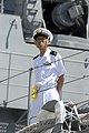 US Navy 080626-N-9500T-085 An officer aboard the Japanese Maritime Self-Defense Force Ship JS Kirishima (DD 174) stands watch after arriving in Pearl Harbor for Rim of the Pacific (RIMPAC) 2008.jpg