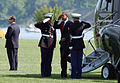 US Navy 090522-N-5528G-053 U.S. President Barack Obama arrives at the U.S. Naval Academy in Annapolis, Md. Obama will deliver the commencement address to more than 1,030 graduating Midshipmen in the Class of 2009.jpg