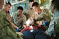 US Navy 110903-N-PB383-108 Hospital Corpsmen conduct medical triage training on a simulated patient aboard the amphibious transport dock ship USS N.jpg