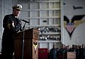 US Navy 111202-N-DR144-291 Retired Rear Adm. Thomas Mercer, a guest speaker and second commanding officer of the Nimitz-class aircraft carrier USS.jpg