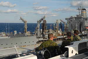US Navy 120203-N-VG904-037 Canadian Marines from Royal 22nd Regiment observe a replenishment at sea.jpg