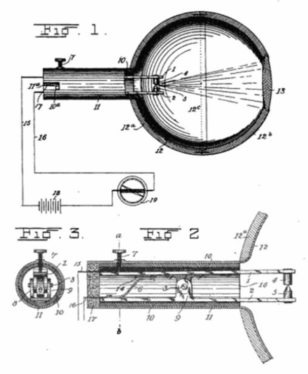 Bose's galena detector from his 1901 patent. This version was deliberately made to look and function like a human eyeball, with a lens focusing millimeter waves on the galena contact. US Patent 755840-Jagadish Chandra Bose-Detector for electrical disturbances fig 1-3.png