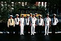US and Soviet navy officers in front of a T-55 tank at the Soviet navy service school in Vladivostok.JPEG