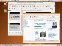 Screenshot of the Live CD of ubuntu, with Fire...