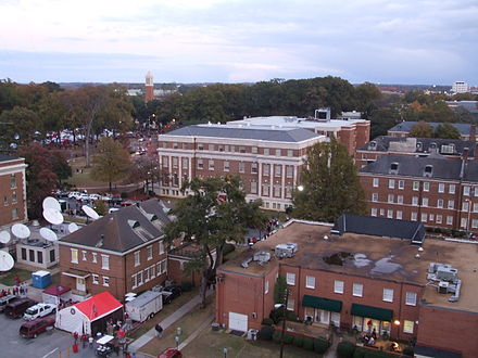 A view of some campus buildings during seasonal tailgating, 2008. Denny Chimes visible in the background University of Alabama Campus 01.jpg