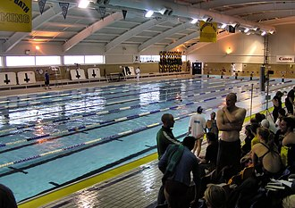 TeamBath - The University of Bath Sports Training Village 50 metre swimming pool, during a competition