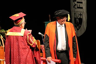 Alan Gibbs - Gibbs receiving an honorary doctorate from University of Canterbury Chancellor John Wood in April 2014