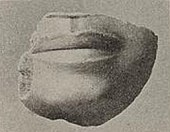 Piece of statue showing a mouth