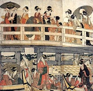 <i>On Top and Beneath Ryōgoku Bridge</i> artwork by Utamaro