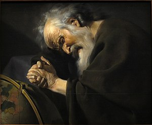 "Heraclitus - Heraclitus by Johannes Moreelse. The image depicts him as ""the weeping philosopher"" wringing his hands over the world, and as ""the obscure"" dressed in dark clothing—both traditional motifs"