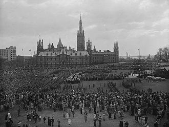 Parliament Hill - Victory in Europe Day celebrations held on Parliament Hill, May 8, 1945