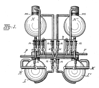 Vacuum sewer - Illustration from Liernur's 1887 patent application. Fig. 5 is an end view of the main receiving apparatus at the pumping station.