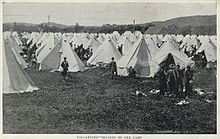 Postcard of the tents hastily erected to accommodate thousands of troops during the First World War & CFB Valcartier - Wikipedia