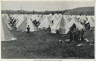 CFB Valcartier - Postcard of the tents hastily erected to accommodate thousands of troops during the First World War