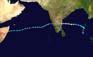 Cyclone Vardah - Image: Vardah 2016 track