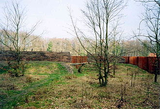 Battle of the Teutoburg Forest - Reconstruction of the improvised fortifications prepared by the Germanic tribes for the final phase of the Varus battle near Kalkriese