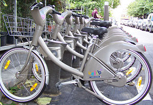 Vélib' - A Vélib station with its distinctive grey bicycles.