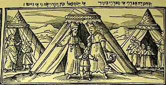 Keturah - The wives and sons of Abraham, with Keturah standing at the far right with her six sons. From the 1630 Venice Haggadah.