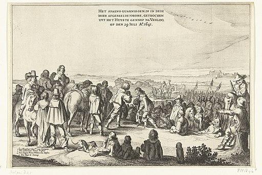 Vertrek van het Spaanse garnizoen uit Huis te Gennep (blad 4), 1641 Expugnatio Fortissimae Arcis Gennapae. Ao Domini MDCXXXXI (titel op object), RP-P-OB-81.503H