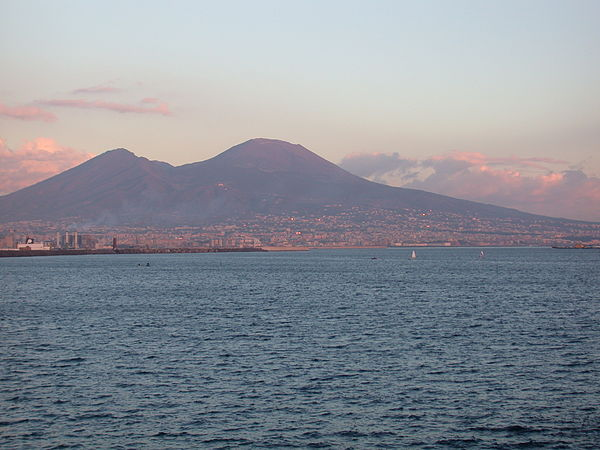 Mount Vesuvius, near the city of Naples in Italy, violently erupted in 79 AD. The last eruption of this stratovolcano occurred in March 1944. Vesuvius from Naples at sunset.jpg