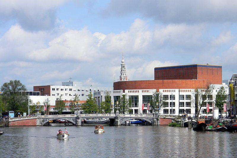 View at Het Muziektheater and Blauwburg from Mager Brug in Amsterdam - panoramio.jpg