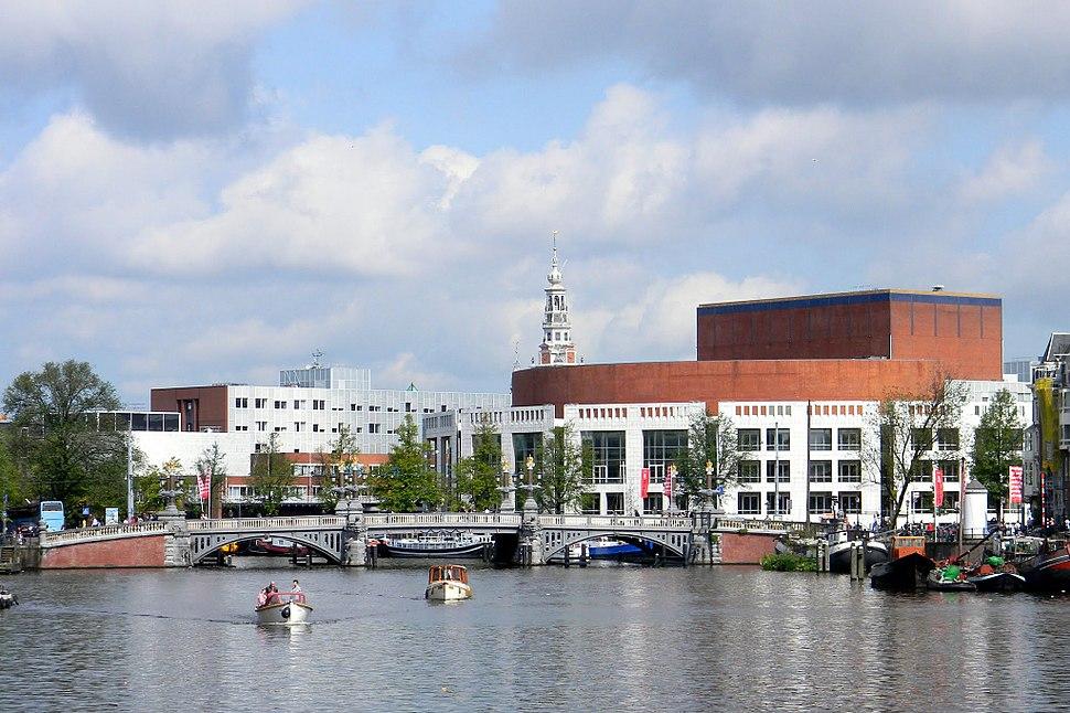 View at Het Muziektheater and Blauwburg from Mager Brug in Amsterdam - panoramio