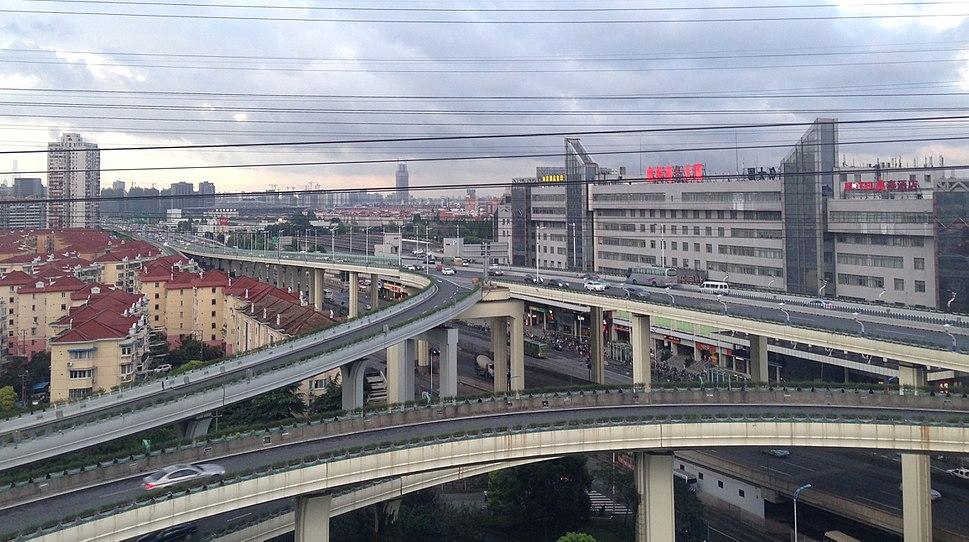 View near Jinjiang Park Metro Station From Jinjiang Park, at the Boundary between Minhang and Xuhui Districts
