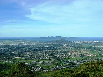 Lavarack Barracks - Part of Lavarack Barracks in the foreground, viewed from Mount Stuart, with Townsville CBD, Castle Hill and Magnetic Island in the distance