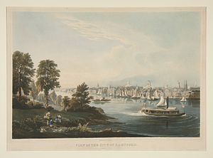 Connecticut River - View of the City of Hartford, Connecticut, by William Havell