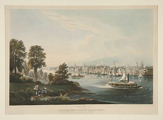 Connecticut River - View of the City of Hartford, Connecticut by William Havell