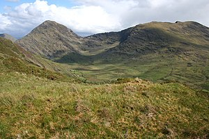 Mountains of the Iveragh Peninsula - Bridia Valley, with Stumpa Dúloigh on the right and  Broaghnabinnia on the left