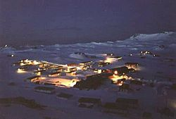 Night view of Villa Las Estrellas, the only civil settlement