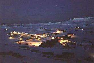 Chilean Antarctic Territory - Night view of Villa Las Estrellas, the only civil settlement