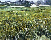 A squarish painting of a wheatfield, in the afternoon, with landscape and a white house in the background.
