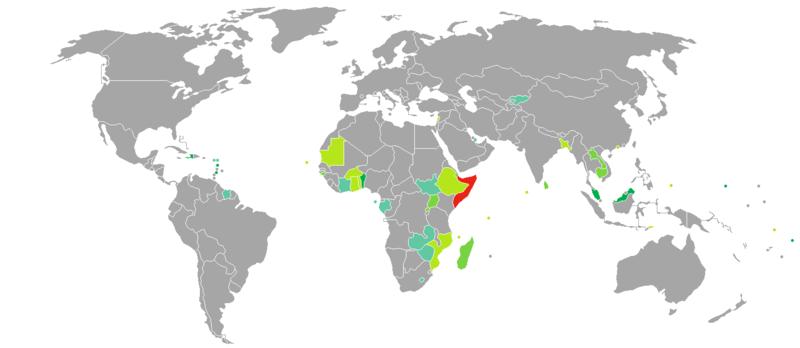 World Map Somolia.Visa Requirements For Somali Citizens Wikipedia