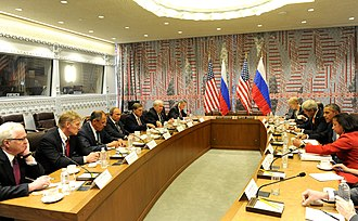 Putin meets with U.S. President Barack Obama in New York City to discuss Syria and ISIL, 29 September 2015 Vladimir Putin and Barack Obama (2015-09-29) 04.jpg