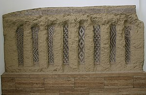 Eanna - Photograph of modern reconstruction from the Pergamon Museum in Berlin, Germany, of columns with decorative mosaics from the Eanna temple