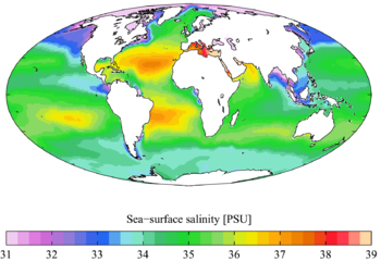 English: Annual mean sea surface salinity from...