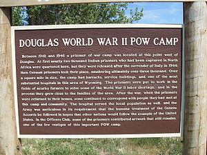 Camp Douglas (Wyoming) - History of the camp on a sign at the entrance