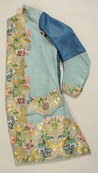 Waistcoat - Man's sleeved waistcoat of silk woven to shape, 1747.