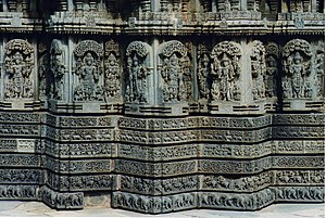 Chennakesava Temple, Somanathapura - Wall panel relief and molding frieze around the main Kesava Temple