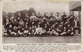 1908–09 Australia rugby union tour of Britain - The 1908 Australian team with names