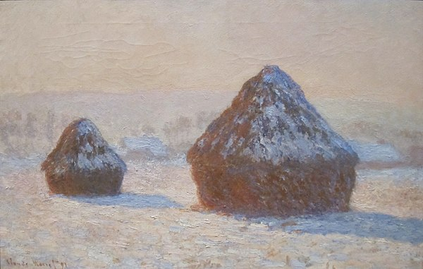 Wheatstacks, Snow Effect, Morning, oil on canvas painting by Claude Monet, 1891, Getty Center.JPG