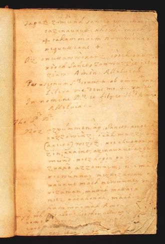 Piscataway people - Catholic Catechism prayers handwritten in the Piscataway, Latin, and English languages by a Catholic missionary to the Piscataway tribe, Andrew White, SJ, ca. 1634—1640. Lauinger Library, Georgetown University